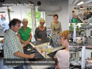 workshops collega's Adelante en verjaardag Mary Pauline, workshop verven met koud vloeibaar glas, Glasateleir Vetro Colorato, Neerbeek
