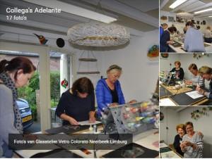 workshops collega's Adelante en verjaardag Mary Pauline, workshop verven met koud vloeibaar glas, Glasatelier Vetro Colorato, Neerbeek