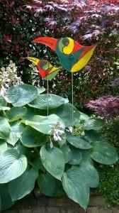 gek vogelpaar van Marian, glasatelier vetro colorato, neerveek, limburg