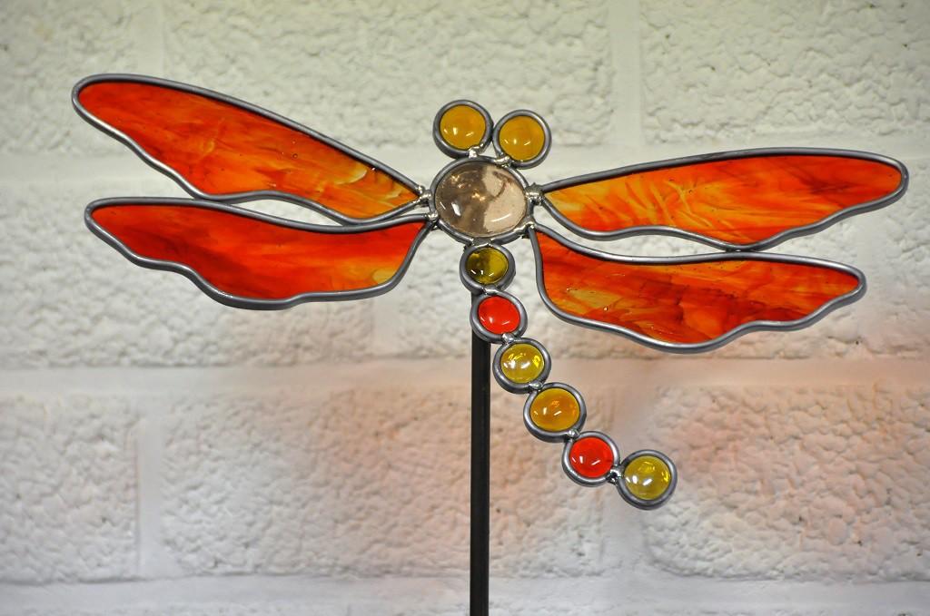workshop glas in randlood, Libel voor binnen of buiten, Glasatelier Vetro Colorato, geert hochstenbach, neerbeek, limburg, glasbewerken, workshop