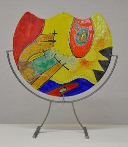 verven met koud vloeibaar glas, glasatelier vetro colorato, neerbeek zuid limburg